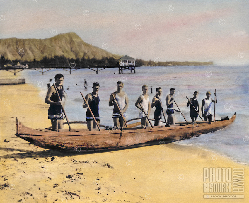 Outrigger canoe club, handtinted archive photo, taken off the old Moana pier in waikiki