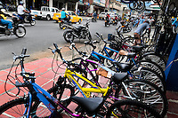 New bicycles are seen sold on the street in front of a small scale bicycle factory in Cali, Colombia, 27 June 2014. Due to the strong, vibrant cycling culture in Colombia, with cycling being one of the two most popular sports in the country, dozens of bike workshops and artisanal, often family-run bicycle factories were always spread out through the Colombian cities. However, growing import of cheap bicycles and components from China during the last decade has led to a significant decline in domestic bicycle production. Traditional no-name bike manufacturers are forced to close down their factories, struggling to survive in the competitive bicycle market.