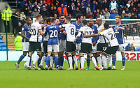 12th January 2020; Cardiff City Stadium, Cardiff, Glamorgan, Wales; English Championship Football, Cardiff City versus Swansea City; Cardiff City and Swansea City players get into an altercation during the first half - Strictly Editorial Use Only. No use with unauthorized audio, video, data, fixture lists, club/league logos or 'live' services. Online in-match use limited to 120 images, no video emulation. No use in betting, games or single club/league/player publications