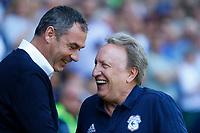 Reading manager Paul Clement laughs with Cardiff City manager Neil Warnock prior to kick off of the Sky Bet Championship match between Cardiff City and Reading at The Cardiff City Stadium, Wales, UK. Sunday 06 May 2018