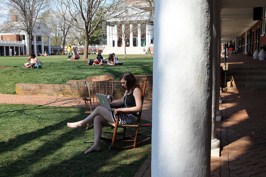Students on the lawn at the University of Virginia. Photo/Andrew Shurtleff