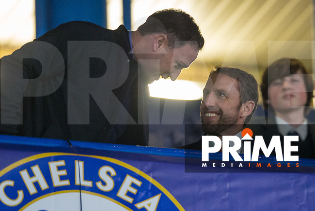 England National Team Manager Gareth Southgate with his assistant Steve Holland during the UEFA Champions League match between Chelsea and Roma at Stamford Bridge, London, England on 18 October 2017. Photo by Andy Rowland.