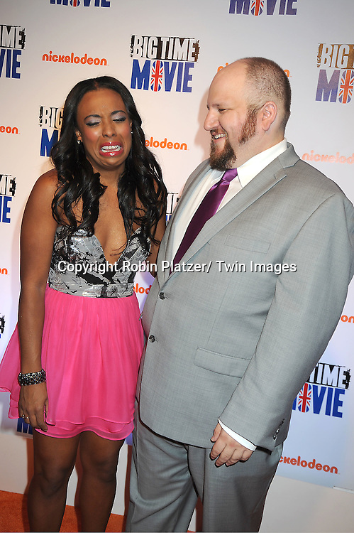 "actress Tanya Chisholm and Stephen Glickman of "" Big Time Rush"" attends The movie premiere of "" Big Time Movie"" starring .Big Time Rush of Nickelodeon on March 8, 2012 at 583 Park Avenue in New York City."