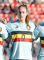 20171024 - PENAFIEL , PORTUGAL :  Belgian Tessa Wullaert pictured during a women's soccer game between Portugal and the Belgian Red Flames , on tuesday 24 October 2017 at Estádio Municipal 25 de Abril in Penafiel. This is the third game for the  Red Flames during the Worldcup 2019 France qualification in group 6. PHOTO SPORTPIX.BE | DAVID CATRY