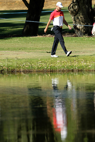 27.02.2016. Perth, Australia. ISPS HANDA Perth International Golf. Max McCardle (AUS) walks to the 8th green during day three.