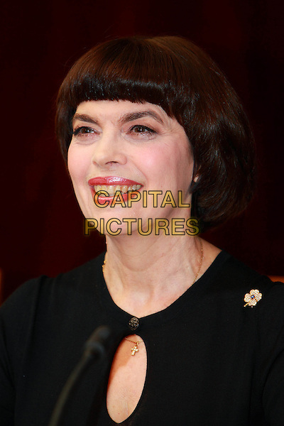 "Mireille Mathieu.Press conference in Moscow (Hotel ""National""), Russia, .16th November 2010..portrait headshot  black smiling .CAP/PER/SB.©SB/PersonaStars/Capital Pictures."