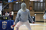 11 February 2017: Duke's Duncan De Caire reacts after scoring a point in Saber. The Duke University Blue Devils hosted the Massachusetts Institute of Technology Engineers at Card Gym in Durham, North Carolina in a 2017 College Men's Fencing match. Duke won the dual match 19-8 overall, 7-2 Foil, 6-3 Epee, and 6-3 Saber.