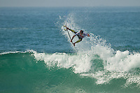 """LA GRAVIERE, Hossegor/France (Tuesday, October 11, 2011) Alejo Muniz (BRA). – Clean three-to-four foot (1 metre) lefts and rights are on offer this morning at La Graviere, prompting Quiksilver Pro France organizers to call competition back on with Round 4 commencing at 8:15am...Stop No. 8 of 11 on the 2011 ASP World Title season, the Quiksilver Pro France looks to get through Rounds 4 and 5 as well as the Quarterfinals this morning before the high tide fills in...""""Conditions look very contestable this morning and we'll be commencing with men's competition at 8:15am,"""" Rich Porta, ASP International Head Judge, said. """"We're in a race against the high tide today so we're hoping to complete 12 heats of competition before it becomes unmanageable. That said, we'll monitor the conditions throughout the morning and adjust the schedule accordingly.""""..Heat one was stopped after 14 minutes because of fog and the contest was put on hold for the next four hours waiting for the fog to lift..Round four was completed and one heat of Round five before the contest was put back on hold because of the high tide conditions. Photo: joliphotos.com"""