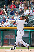 Efren Navarro (14) of the Salt Lake Bees at bat against the Reno Aces in Pacific Coast League action at Smith's Ballpark on May 10, 2015 in Salt Lake City, Utah.  Salt Lake defeated Reno 9-2 in Game One of the double-header. (Stephen Smith/Four Seam Images)