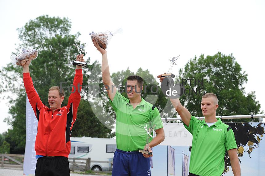 FIERLJEPPEN: IJLST: 02-08-2014, Fierljeppen Nationale Competitie, Jaco de Groot, Bart Helmholt (21.34), Nard Brandsma, ©foto Martin de Jong
