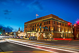 USA, Colorado, Aspen, exterior shot of the Jerome Hotel at dusk, Main Street