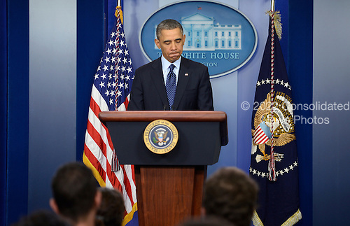 United States President Barack Obama responds to a question from the news media during a press conference at the White House in Washington, DC, USA, 01 March 2013. President Obama responded to questions in the White House briefing room after a meeting with congressional leaders on the sequester..Credit: Shawn Thew / Pool via CNP