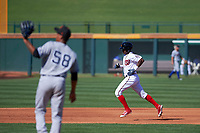 Mesa Solar Sox designated hitter Victor Robles (14), of the Washington Nationals organization, rounds the bases after hitting a solo home run off pitcher Albert Abreu (58), of the New York Yankees organization, during an Arizona Fall League game against the Scottsdale Scorpions on October 24, 2017 at Sloan Park in Mesa, Arizona. The Scorpions defeated the Solar Sox 3-1. (Zachary Lucy/Four Seam Images)