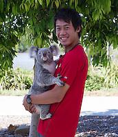 Ambience Kei Nishikori (JPN)<br /> <br /> Tennis - Brisbane International 2015 - ATP 250 - WTA -  Queensland Tennis Centre - Brisbane - Queensland - Australia  - 6 January 2015. <br /> &copy; Tennis Photo Network