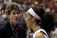 BERKELEY, CA - MARCH 30: Associate head coach Amy Tucker advising Ros Gold-Onwude during Stanford's 74-53 win against the Iowa State Cyclones on March 30, 2009 at Haas Pavilion in Berkeley, California.