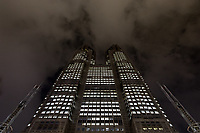 Tokyo Metropolitan Government Towers with light pollution, Shinjuku, Tokyo, Japan. Thursday February 15th 2018