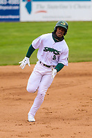 Beloit Snappers outfielder Lazaro Armenteros (8) races to third base during a Midwest League game against the Quad Cities River Bandits on May 20, 2018 at Pohlman Field in Beloit, Wisconsin. Beloit defeated Quad Cities 3-2. (Brad Krause/Four Seam Images)
