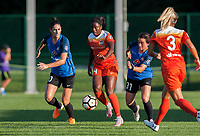 Kansas City, MO - Sunday July 02, 2017:  Nichelle Prince splits the defense of Yael Averbuch and Christina Gibbons during a regular season National Women's Soccer League (NWSL) match between FC Kansas City and the Houston Dash at Children's Mercy Victory Field.
