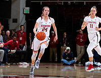 Stanford, California - January 4, 2019: Stanford Women's Basketball defeats USC 72-64 at Maples Pavilion in Stanford, California.