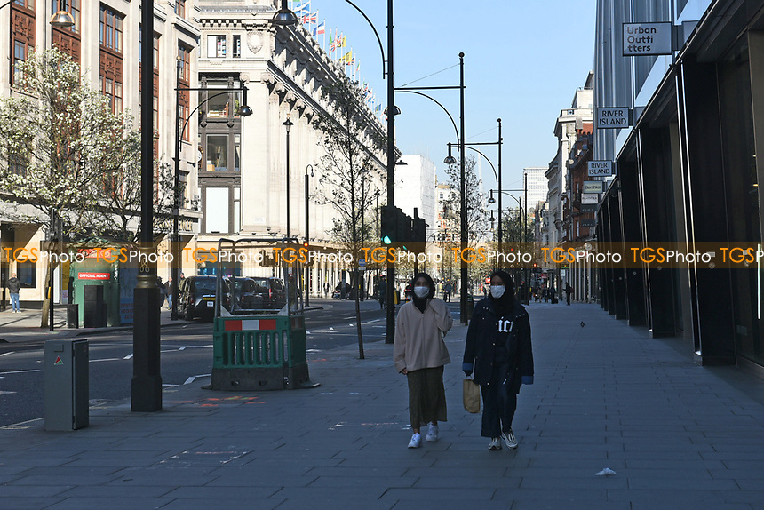 A general view of Oxford Street. The deserted streets show the severe effects of the COVID-19 epidemic on London on 23rd March 2020
