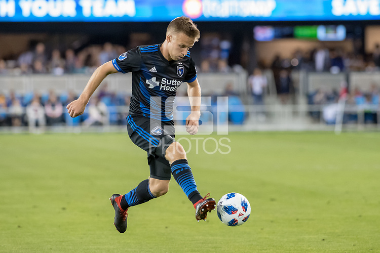 San Jose, CA - Thursday January 21, 2016: Tommy Thompson during a Major League Soccer (MLS) match between the San Jose Earthquakes and the New York Red Bulls at Avaya Stadium.