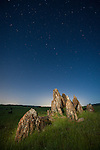 Metamorphic tombstone rocks, starey sky with the Big Dipper constellation in the Salt Spring Valley of Calaveras Co.