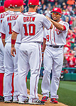 7 April 2016: Washington Nationals outfielder Ben Revere greets teammates as he is introduced on the field prior to the Nationals' Home Opening Game against the Miami Marlins at Nationals Park in Washington, DC. The Marlins defeated the Nationals 6-4 in their first meeting of the 2016 MLB season. Mandatory Credit: Ed Wolfstein Photo *** RAW (NEF) Image File Available ***