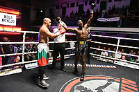 Lola Koyejo (black shorts) defeats Tvetozar Iliev during a Boxing Show at York Hall on 7th September 2019