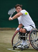 July 5, 2014, United Kingdom, London, Tennis, Wimbledon, AELTC, Wheelchairtennis, Gordon Reid (GBR)<br /> Photo: Tennisimages/Henk Koster