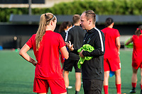 Boston, MA - Sunday September 10, 2017: Celeste Boureille and Mark Parsons during a regular season National Women's Soccer League (NWSL) match between the Boston Breakers and Portland Thorns FC at Jordan Field.