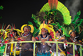 Imperatriz Leopolinense Samba School, Carnival, Rio de Janeiro, Brazil, 26th February 2017. The 'Beautiful Monster' - Belo Monstro - float. The Kayapo Indians are at the front of the float; from left: Beptirití Kayapó, Metuktire, Raoni Metuktire, Megaron Txucarrhamãe, Bemoro Metuktire and Kreton Panará.