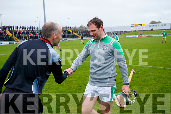 Mikey Boyle Ballyduff with Referee in the Senior County Hurling Final in Austin Stack Park on Sunday