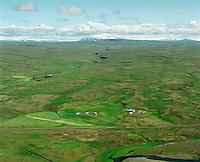 Hrútatunga, Fossdalur og Eiríksjökull og Langjökull í baksýni, Staðarhreppur.Hrutatunga farm and Fossdalur valley . Eiríksjokull  and Langjokull in far background