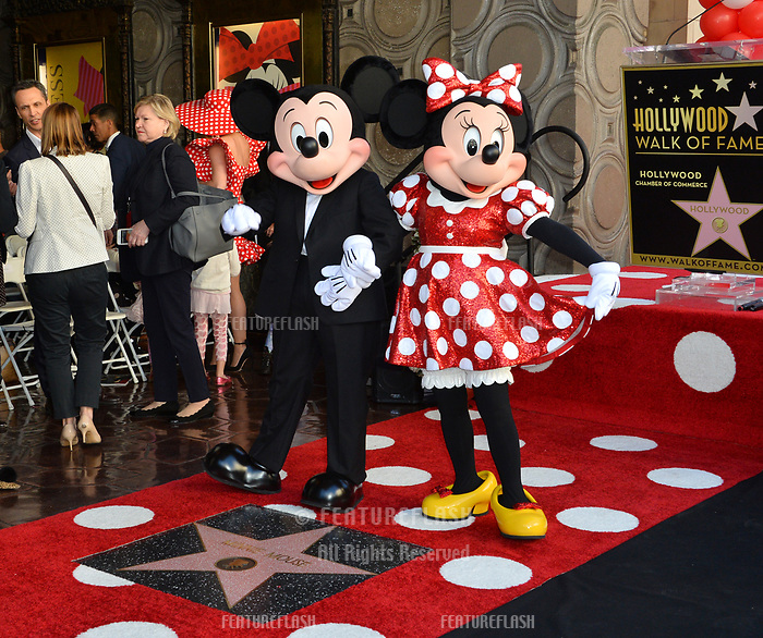 Mickey Mouse &amp; Minnie Mouse at the Hollywood Walk of Fame Star Ceremony honoring Disney character Minnie Mouse, Los Angeles, USA 22 Jan. 2018<br /> Picture: Paul Smith/Featureflash/SilverHub 0208 004 5359 sales@silverhubmedia.com