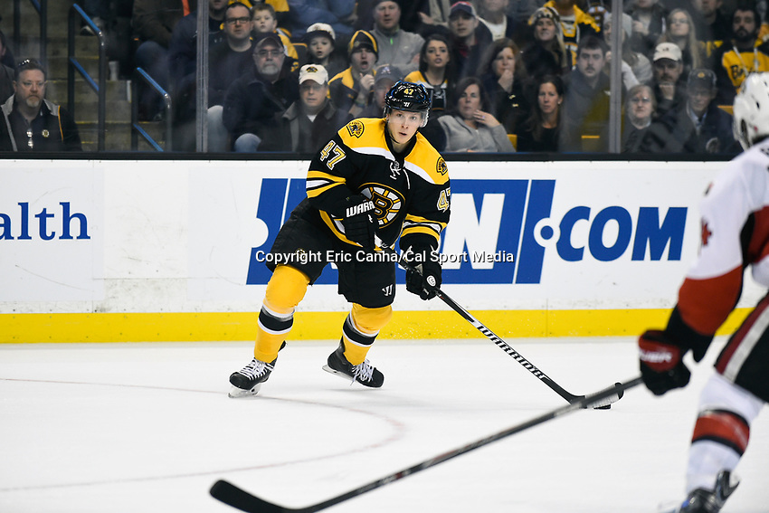 January 3, 2015 - Boston, Massachusetts, U.S. - Boston Bruins defenseman Torey Krug (47) in game action during the NHL game between the Ottawa Senators and the Boston Bruins held at TD Garden in Boston Massachusetts.  Ottawa defeated Boston 3-2 in overtime. Eric Canha/CSM