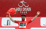 Mark Cavendish (GBR) Team Dimension Data retains the race leaders Red Jersey at the end of Stage 2 the Nation Towers Stage of the 2017 Abu Dhabi Tour, running 153km around the city of Abu Dhabi, Abu Dhabi. 24th February 2017<br />