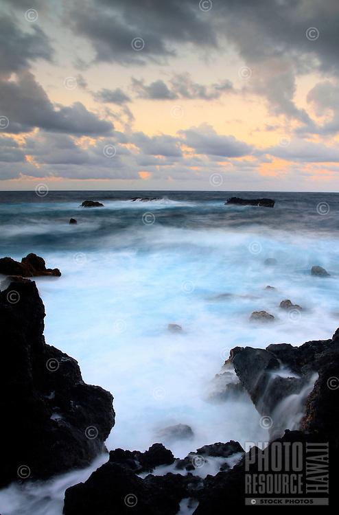 Twilight from Wai'anapanapa State Park, Hana, Maui, Hawaii.