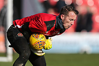 Alex Cairns of Fleetwood Town warms up ahead of the Sky Bet League 1 match between Fleetwood Town and MK Dons at Highbury Stadium, Fleetwood, England on 24 February 2018. Photo by David Horn / PRiME Media Images