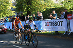 Amanda Spratt (AUS) and Anna Van Der Breggan (NED) 3rd and 4th on the 2nd circuit of Harrogate during the Women Elite Road Race of the UCI World Championships 2019 running 149.4km from Bradford to Harrogate, England. 28th September 2019.<br /> Picture: Seamus Yore | Cyclefile<br /> <br /> All photos usage must carry mandatory copyright credit (© Cyclefile | Seamus Yore)