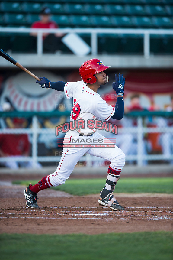 Orem Owlz shortstop Jeremiah Jackson (39) follows through on his swing during a Pioneer League game against the Ogden Raptors at Home of the OWLZ on August 24, 2018 in Orem, Utah. The Ogden Raptors defeated the Orem Owlz by a score of 13-5. (Zachary Lucy/Four Seam Images)