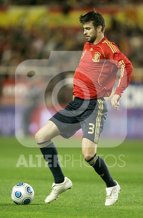 Spain´s Gerard Pique during an international friendly, February 11, 2009. (ALTERPHOTOS/Alvaro Hernandez).
