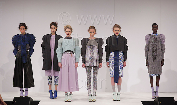 Collection by Kathryn Reynolds of Birmingham City University. Graduate Fashion Week 2012 at London's Earl's Court.