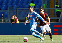 Calcio, Serie A: Roma vs Napoli. Roma, stadio Olimpico, 25 aprile 2016.<br /> Napoli&rsquo;s Jose' Maria Callejon, left, is chased by Roma&rsquo;s Diego Perotti during the Italian Serie A football match between Roma and Napoli at Rome's Olympic stadium, 25 April 2016.<br /> UPDATE IMAGES PRESS/Riccardo De Luca