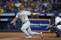 DJ Petrinsky (6) of the Texas Longhorns follows through on his swing against the LSU Tigers in game three of the 2020 Shriners Hospitals for Children College Classic at Minute Maid Park on February 28, 2020 in Houston, Texas. The Tigers defeated the Longhorns 4-3. (Brian Westerholt/Four Seam Images)