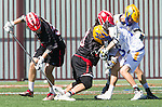 Santa Barbara, CA 04/16/16 - Jeff  Shriver (Chapman #60) and Alex Dixon (UCSB #18), Michael Kerr (UCSB #7), PJ Titterton (Chapman #32) in action during the final regular MCLA SLC season game between Chapman and UC Santa Barbara.  Chapman defeated UCSB 15-8. in action during the final regular MCLA SLC season game between Chapman and UC Santa Barbara.  Chapman defeated UCSB 15-8.