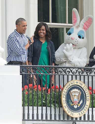United States President Barack Obama makes remarks as he and first lady Michelle Obama host the 2016 White House Easter Egg Roll on the South Lawn of the White House in Washington, DC on Monday, March 28, 2016.<br /> Credit: Ron Sachs / CNP