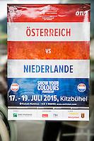 Austria, Kitzbuhel, Juli 14, 2015, Tennis, Davis Cup, Training Dutch team, event poster<br /> Photo: Tennisimages/Henk Koster