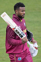 Shai Hope (West Indies) on his way back to the pavilion following his dismissal for 101 during West Indies vs New Zealand, ICC World Cup Warm-Up Match Cricket at the Bristol County Ground on 28th May 2019
