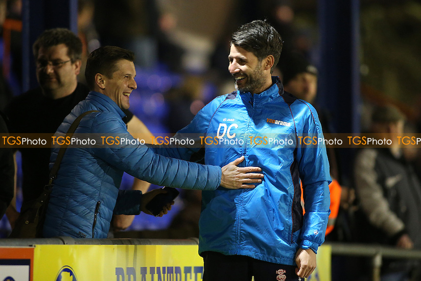 Lincoln City manager Danny Cowley greets a Braintree fan during Braintree Town vs Lincoln City, Vanarama National League Football at the IronmongeryDirect Stadium on 7th March 2017