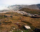 GREENLAND, Kangerlussuaq, Kangerlussuaq Ice Cap, glacier with landscape